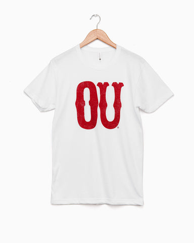 Oklahoma Flocked Red Cozy Crew