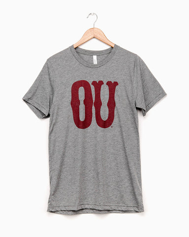 Gray Oklahoma Flocked Triblend Tee