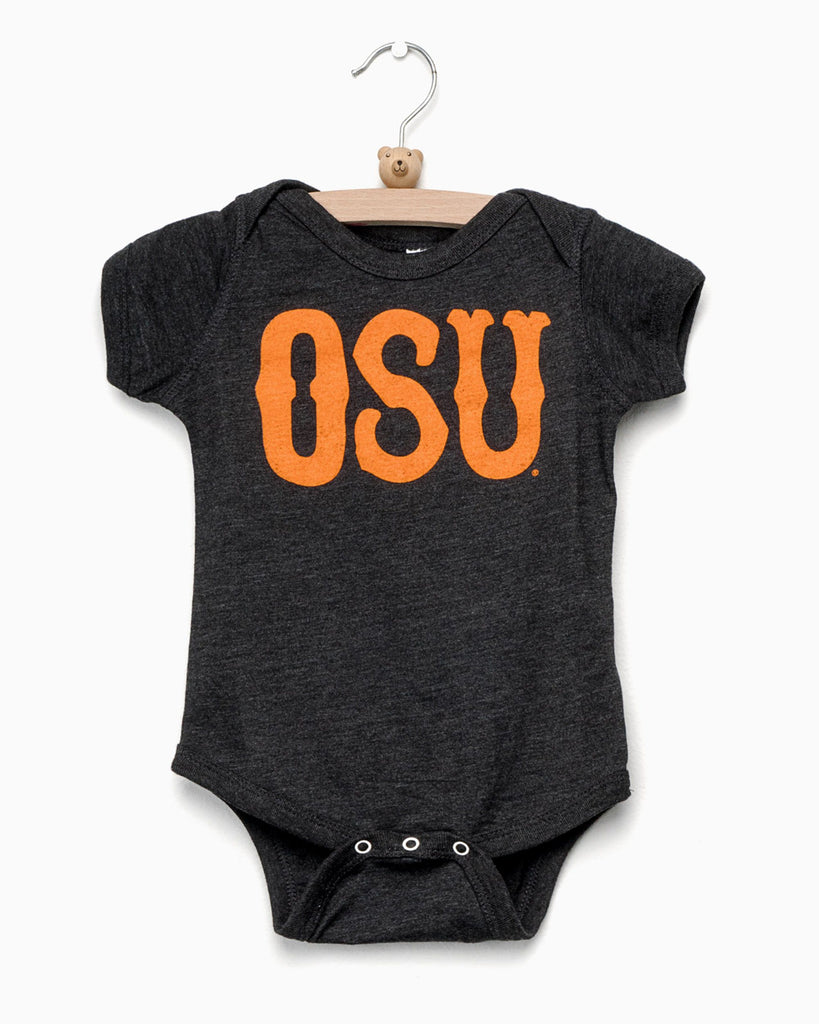 Children's OSU Western Stamp Black Onesie