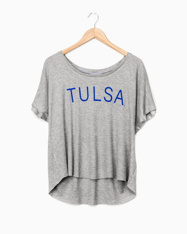 Gray Tulsa Flocked Comfort Colors Sweatshirt (blue letters)