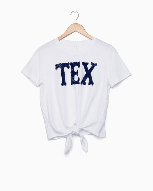 TEX Western Stamp White Tie Front Tee (2134212149351)
