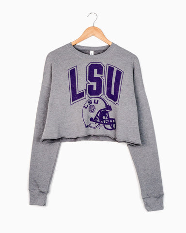 LSU Helmet Gray Corded Crew Sweatshirt
