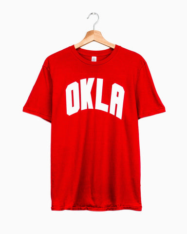 Children's OKLA Western Stamp Gray Tee (Green Letters)