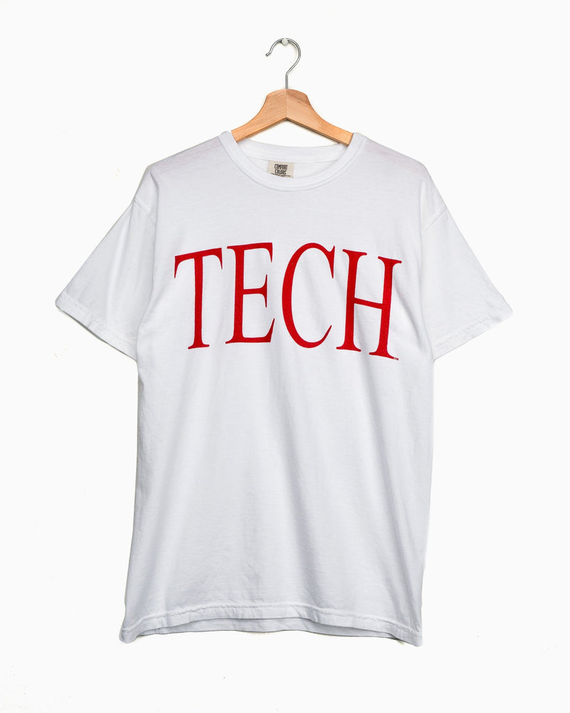 Texas Tech Large Font White Comfort Colors Tee (4622146044007)