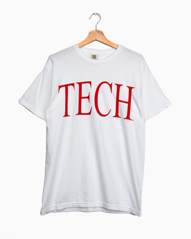Texas Tech Large Font White Cropped Tee
