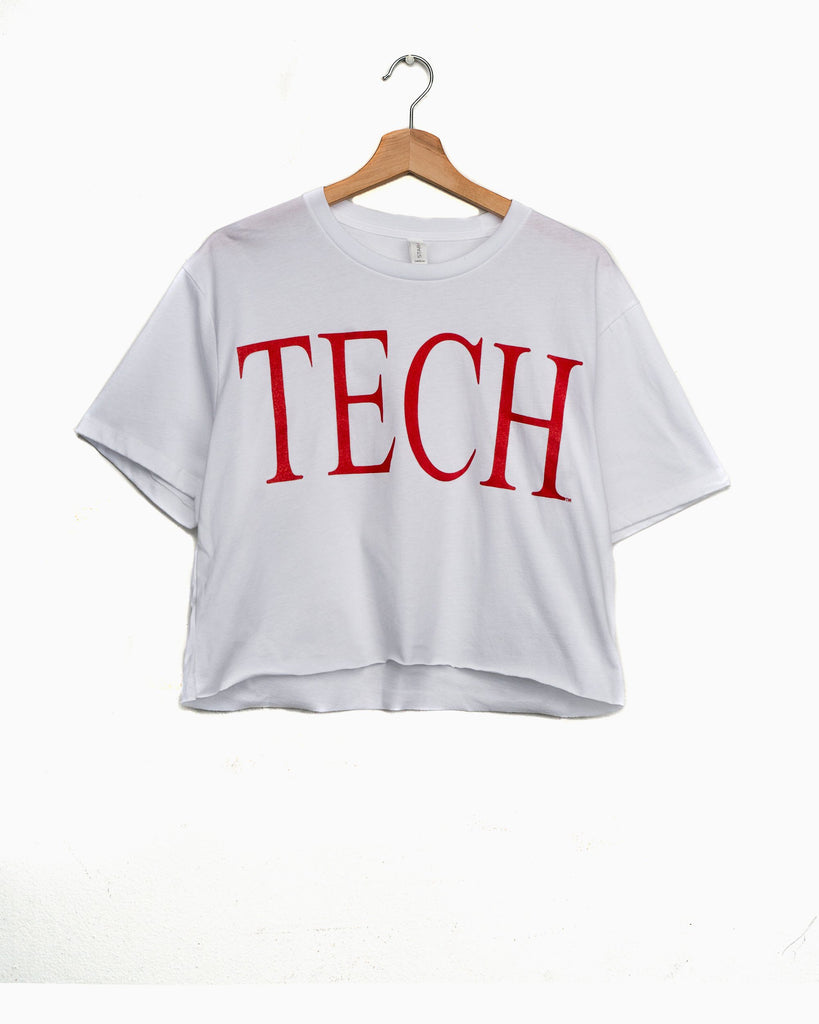 Texas Tech Large Font White Cropped Tee (4618210967655)