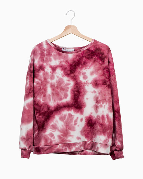 Mauve Tie Dye Lightweight Sweatshirt & Short Set