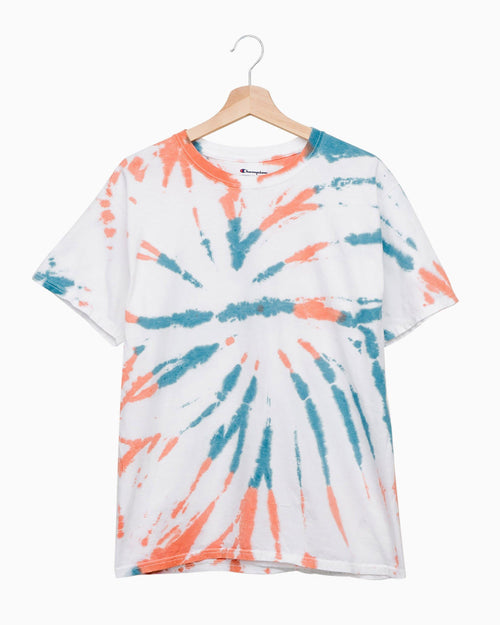 Teal Rust Swirl Dot Tie Dye Champion Tee
