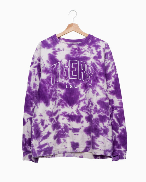 Tigers Gault Purple Cloud Tie Dye Corded Crew Sweatshirt