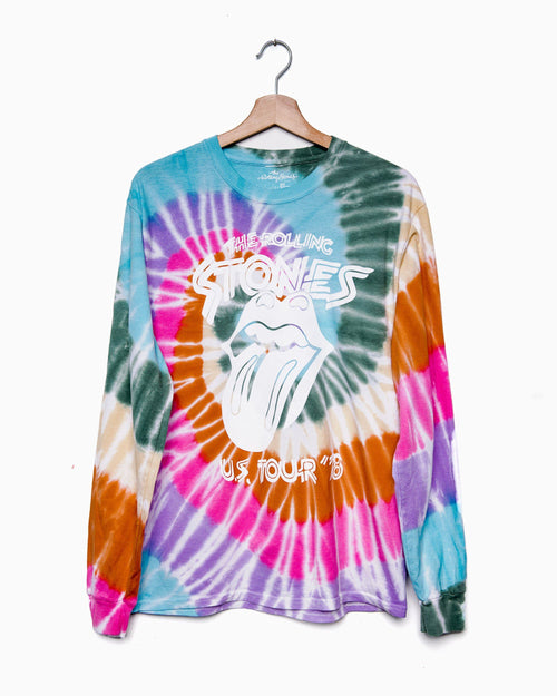 Rolling Stones '78 Tour Fall Multi Swirl Tie Dye Long Sleeve Tee