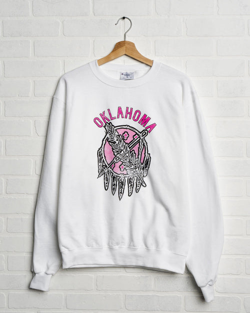 Oklahoma Sticker Shield White Sweatshirt with Pink Letters