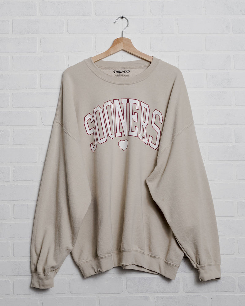 Sooners Distressed Heart Sand Thrifted Sweatshirt