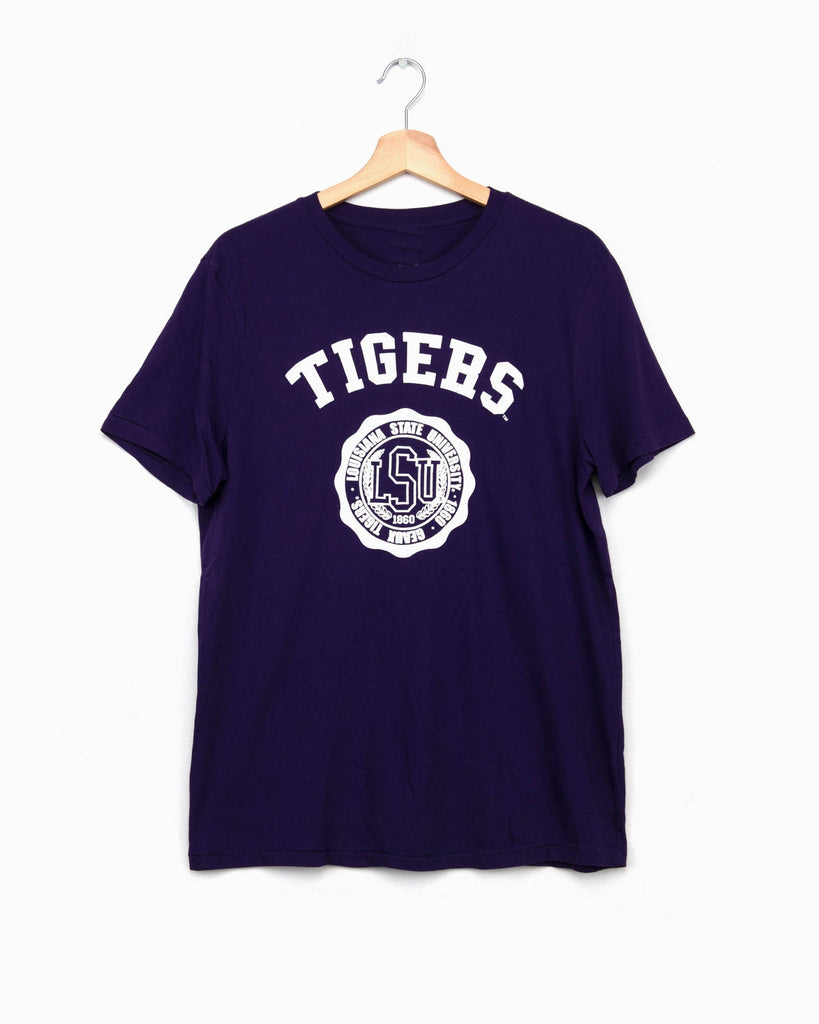 LSU Puff Seal Purple Tri-Blend Tee (4514538750055)