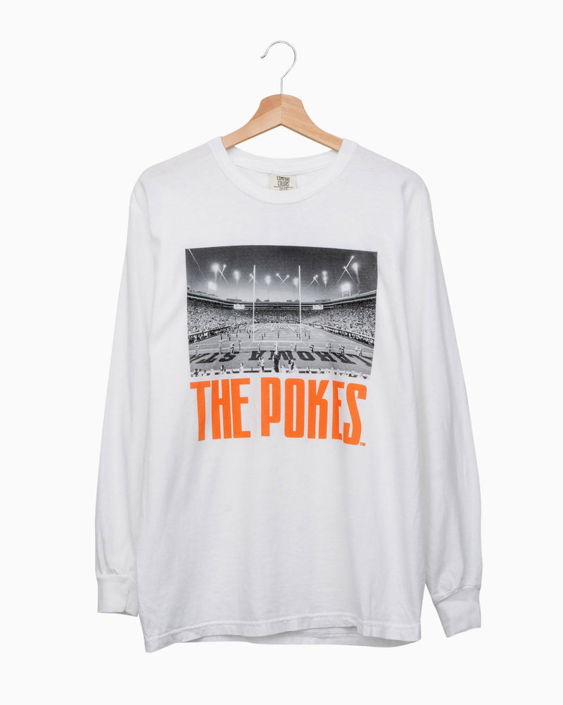 Pokes Stadium White Long Sleeve Comfort Colors Tee