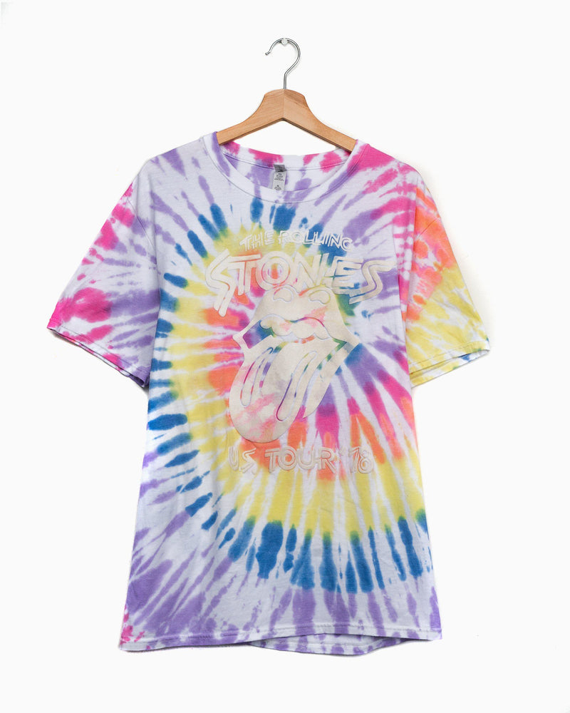 Rolling Stones '78 Tour Flocked Multi Bright Twist Tie Dye Tee (4627105841255)