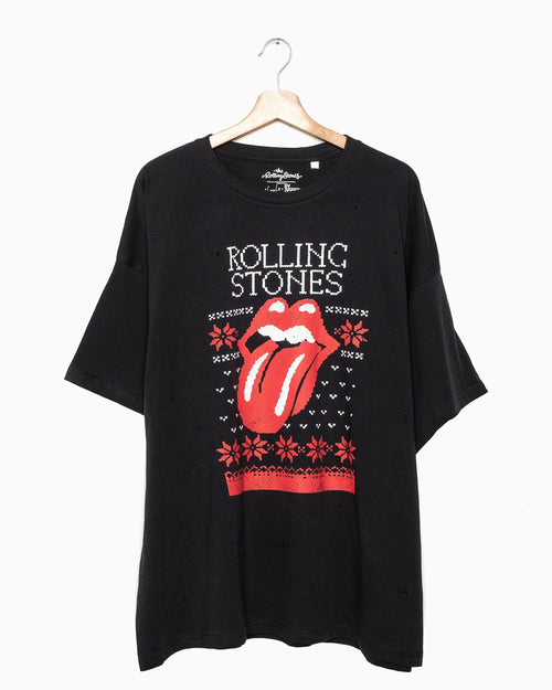Rolling Stones Norway Sweater Lick Black Oversized Distressed Tee