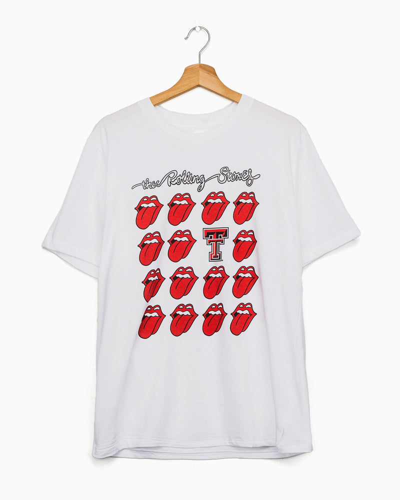 Rolling Stones Texas Tech Multi Lick White Tee (4522394484839)