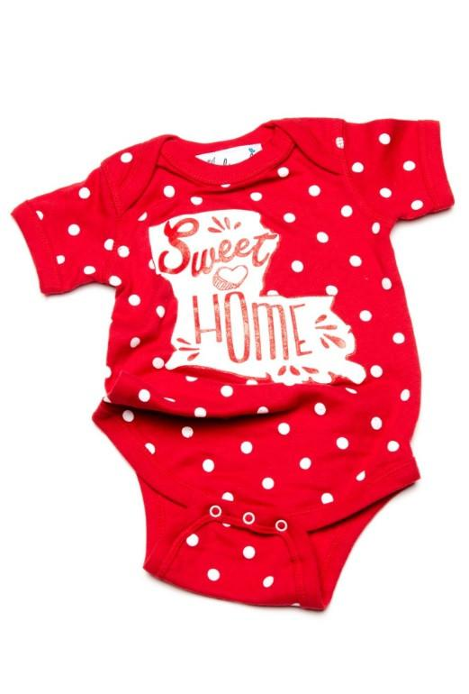 Children's Sweet Home Louisiana Red Polka Dot Onesie - shoplivylu