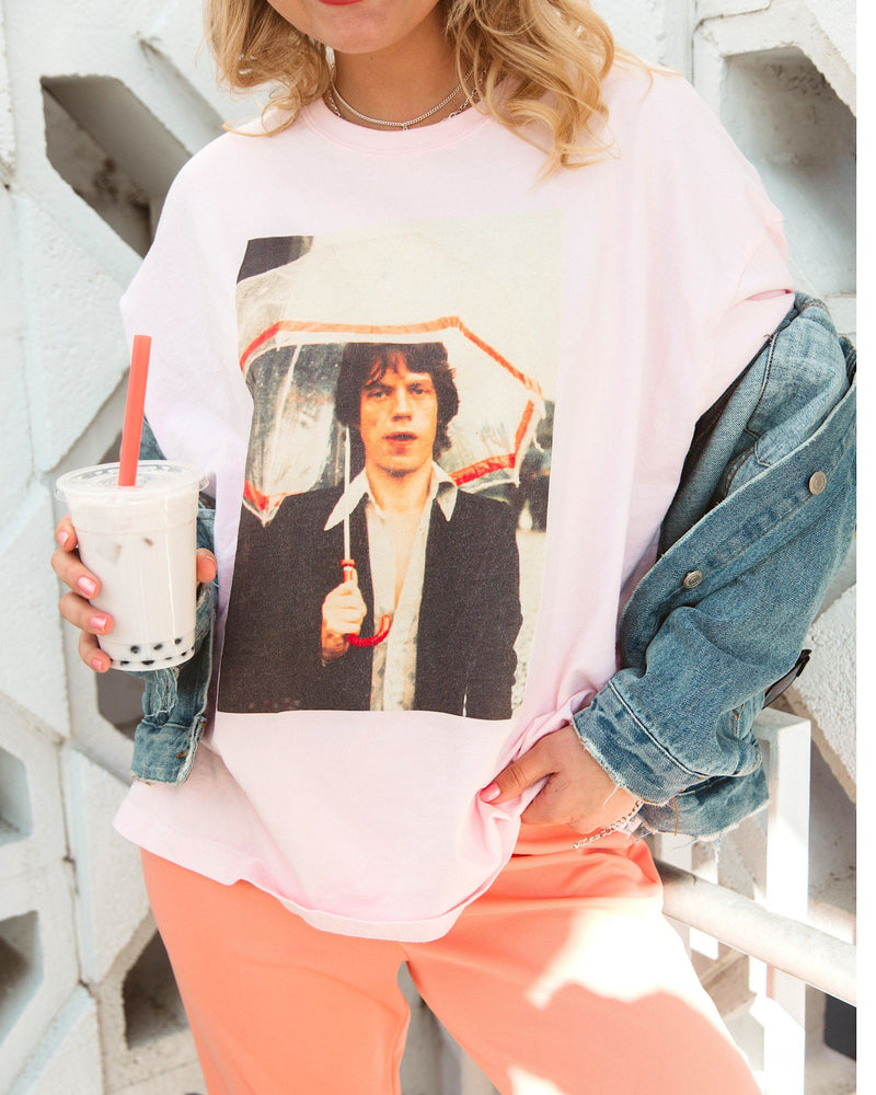 Rolling Stones Jagger Umbrella Pic Pink One Size Boxy Tee
