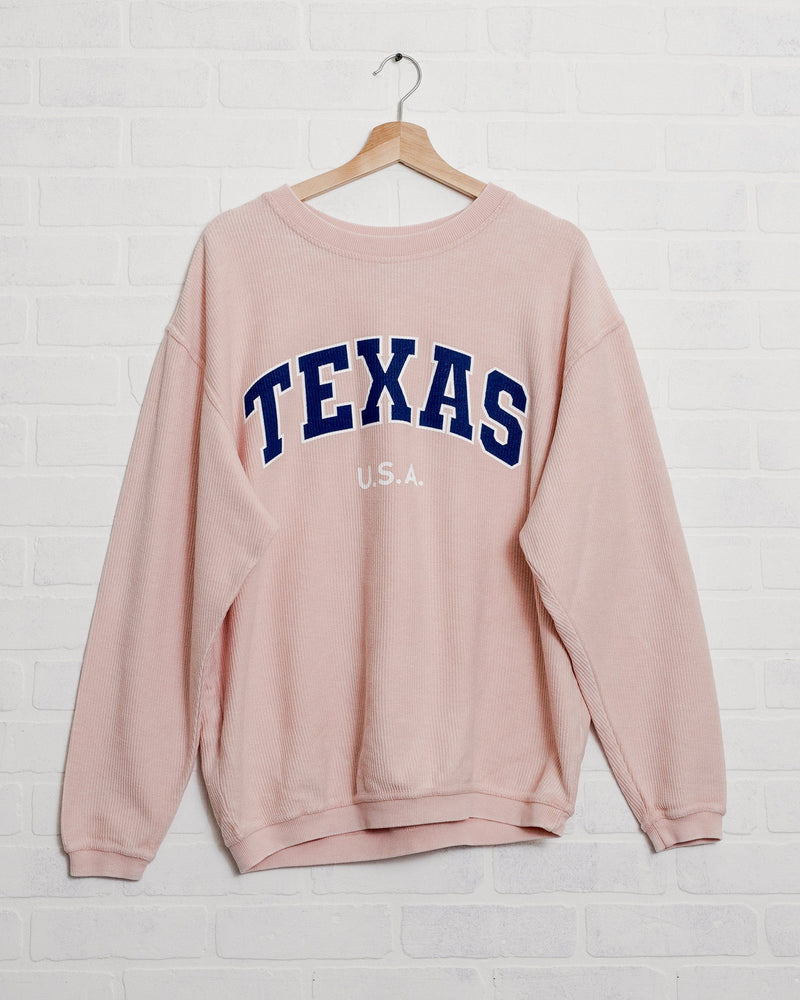 Texas USA Filled Gault Pink Corded Crew Sweatshirt
