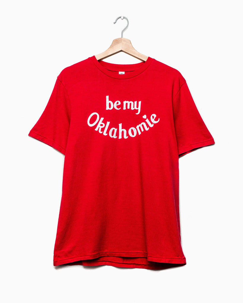 Be My Oklahomie Red Tri-Blend Tee with White Letters