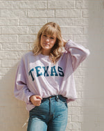 Texas USA Filled Gault Purple Corded Crew Sweatshirt