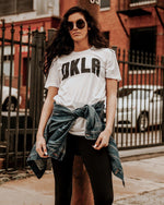 OKLA White Sueded Short Sleeve Tee (Black Letters)