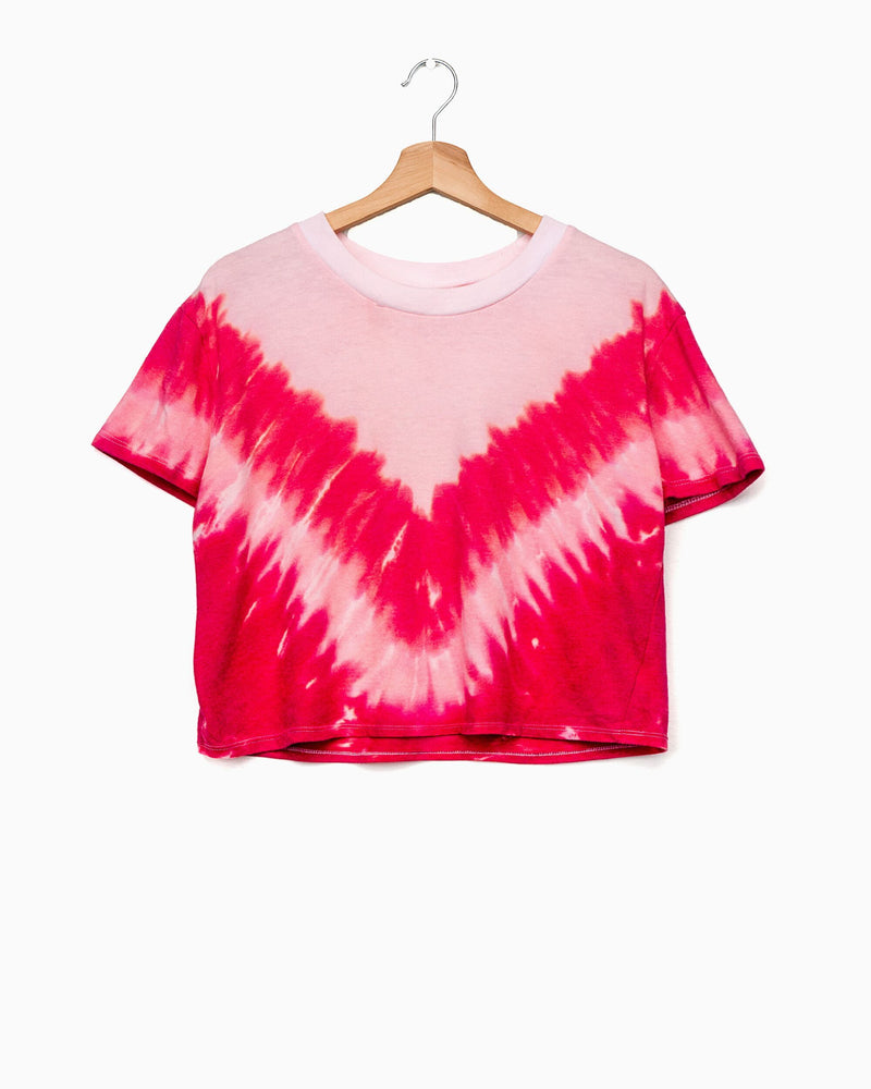 Pink V Tie Dye Cropped Tee (4598069330023)