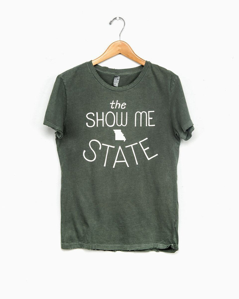 Missouri Show Me State Green Distressed Tee