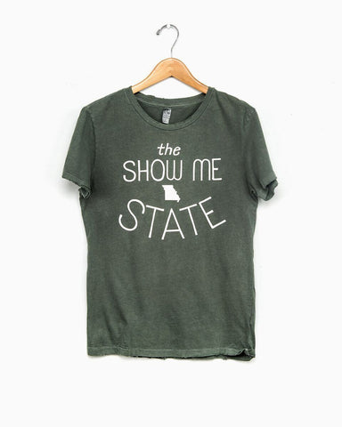 Cream Missouri Show Me State Distressed Tee
