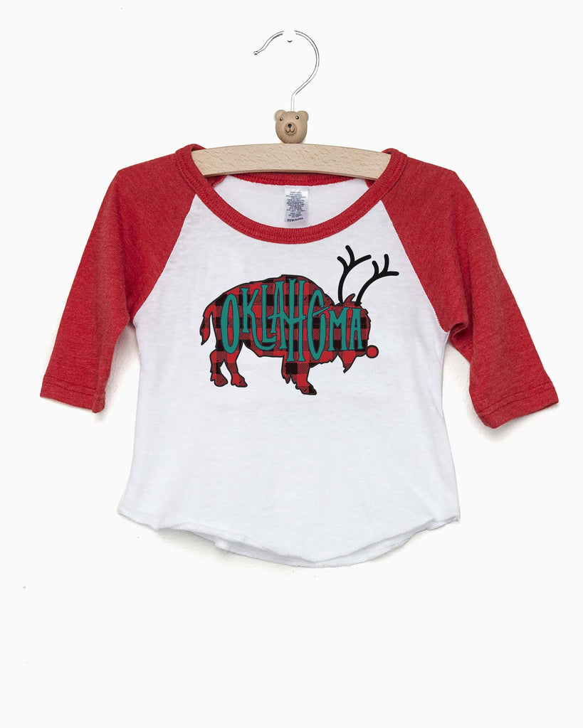 Children's Oklahoma Bison Reindeer Red Baseball Sleeve Tee