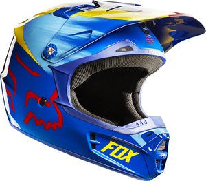 Fox V1 Youth Vandal Yellow/Blue Helmet - motoedge  - 1