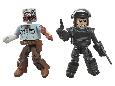 Walking Dead Minimates Series 3 Riot Gear Rick and Guard Zombie