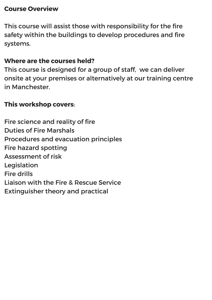 Fire Marshal -  In-house group training