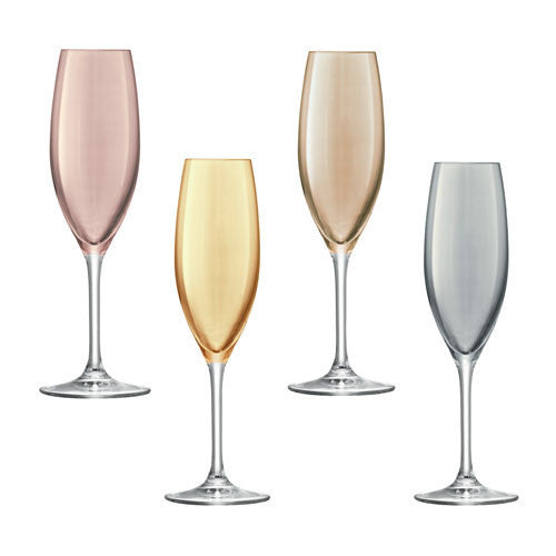 LSA Polka Metallics Assorted Champagne Flutes 225ml (Set of 4)