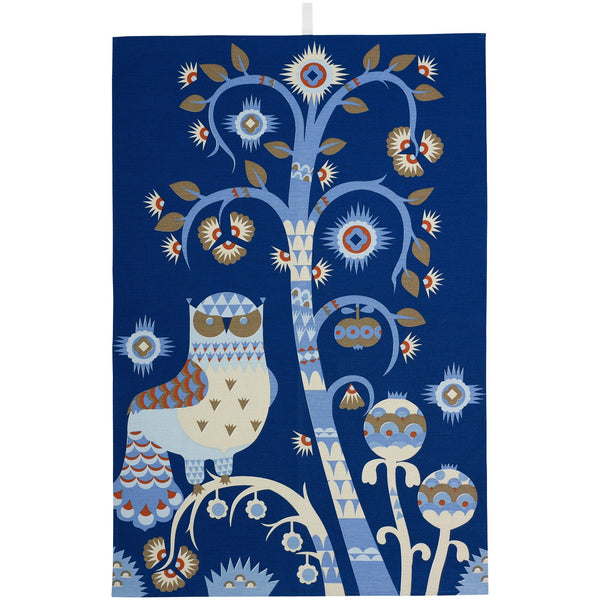 Iittala Taika Black Blue Tea Towel 43cm by 67cm