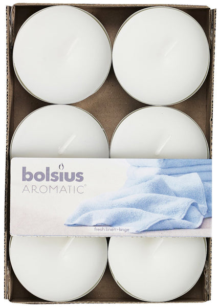 Bolsius Aromatic Fresh Linen Maxi-Light (Set of 6)