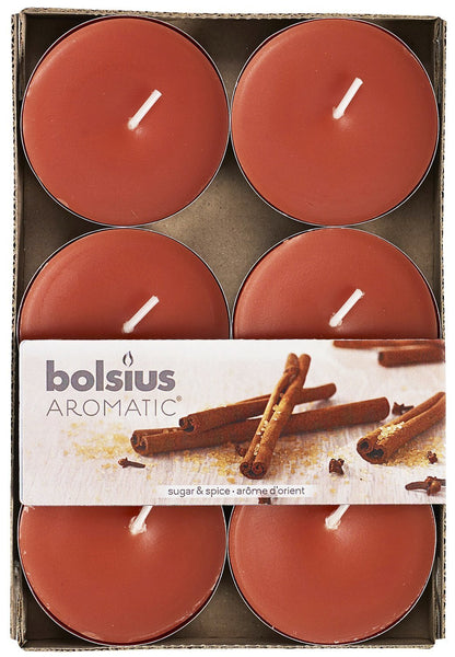 Bolsius Aromatic Sugar and Spice Maxi-Light (Set of 6)