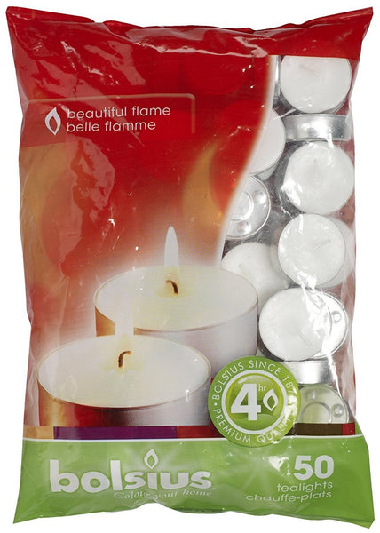 Bolsius Essentials 4 Hour White Tealight (Set of 50)