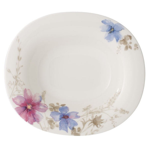 Villeroy and Boch Mariefleur Gris Oval Deep Plate 24 by 21cm