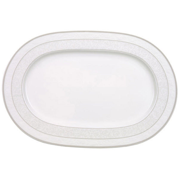 Villeroy and Boch Grey Pearl Oval Platter 35cm