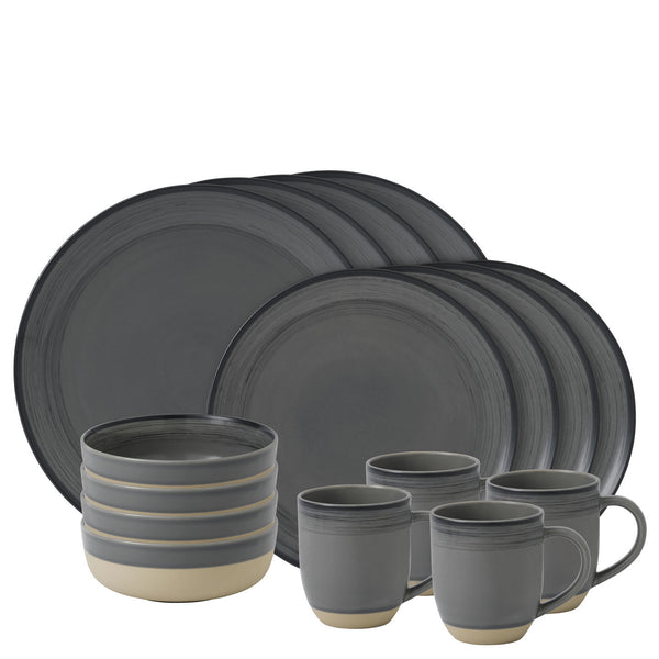 Royal Doulton Ellen Degeneres Brushed Glaze Grey 16 Piece Set
