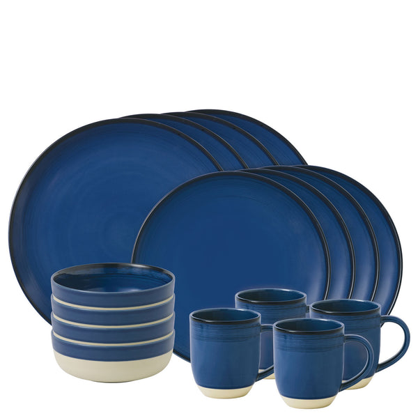 Royal Doulton Ellen Degeneres Brushed Glaze Dark Blue 16 Piece Set