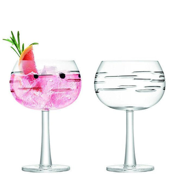 LSA International Gin Dash Cut Balloon Glass 0.42L (Set of 2)