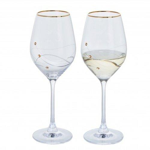 Dartington Crystal Glitz Gold Wine Glass (Pair)