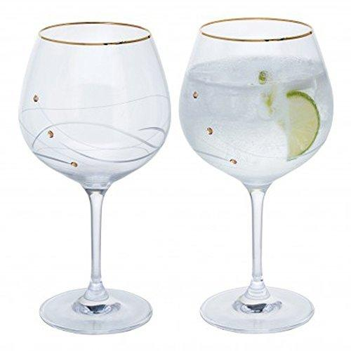 Dartington Crystal Glitz Gold Copa Glass (Pair)