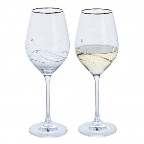 Dartington Crystal Glitz Silver Wine Glass (Pair)