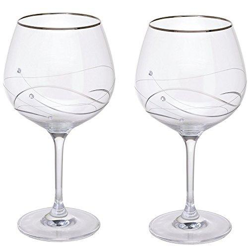 Dartington Crystal Glitz Silver Copa Glass (Pair)
