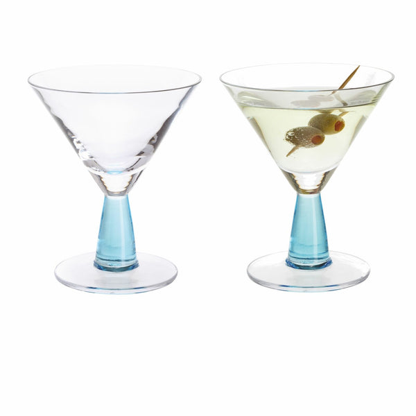Dartington Crystal Gin Connoisseur Blue Martini Glass 0.18L (Pair)