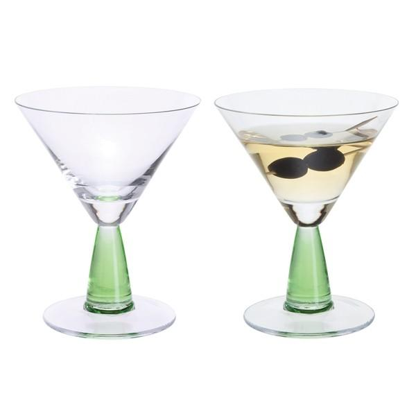 Dartington Crystal Gin Connoisseur Green Martini Glass 0.18L (Pair)
